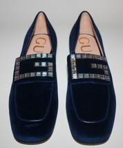 NIB Gucci Crystal G Royal Blue Velvet Loafers Flats - $395.01