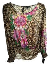 nwt Women Leopard Floral Blouse Top L - $40.00