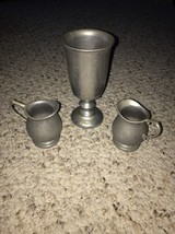 "VINTAGE RWP WILTON ARMETALE 7"" Goblet 12 Oz And 2 Creamers All Marked - $29.69"