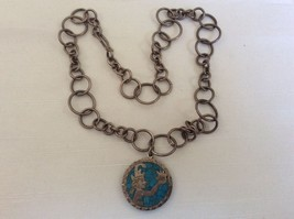 Vtg Mexico 925 Sterling Silver Crushed Turquoise Mosaic Aztec Necklace Signed - $125.93