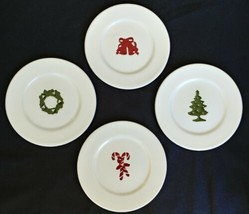 "XMAS Ornament Coasters Lot of 4 Tree Wreath Bell Candy Cane 4 1/2"" Round... - $7.95"