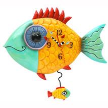 Allen Designs Wide Eye Fishy Hand Painted Pendulum Whimsical Wall Clock - $54.00