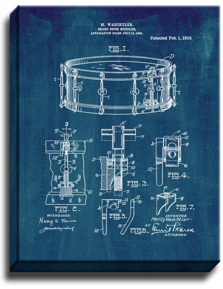 Primary image for Snare Drum Muffler Patent Print Midnight Blue on Canvas