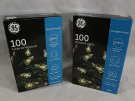 GE 100 Miniature Clear Lights 2 Box lot / Green Wire, Landscape, Party, ... - $14.95