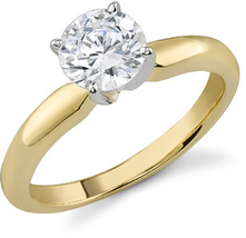 Yellow Gold Plated 925 Sterling Silver Round Cut Diamond Solitaire Wedding Ring - £49.77 GBP