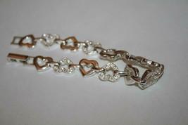 Avon Silvertone Crystal Open Heart Bracelet  J345 image 2