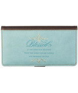 """Checkbook Cover Pale Blue And Brown """"Blessed"""" Luke 1:45 Christian Brand NEW - $13.14"""