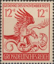 1944 WWII Eagle and Serpent Germany Postage Stamp Catalog Number B289 MNH