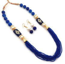 Indian Bollywood Gold Plated Blue Beads Kundan Necklace Earrings Jewelry Set - $13.65