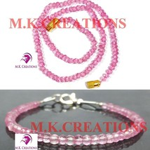 """Natural pink crystal 3-4mm Beads Beaded 16"""" Necklace 7"""" Bracelet Jewelry Set - $22.47"""