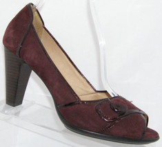 Sofft Gabby purple suede peep toe button slip on stacked block heels 9M - $35.21
