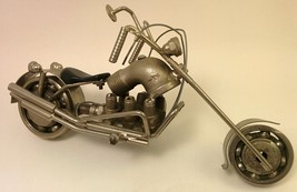 Motorcycle Chopper Sculpture Recycled Parts Model Handmade - $38.61