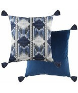 "FILLED EVANS LICHFIELD TRIBAL AZTEC BLUE TASSELLED 17"" - 43CM CUSHION - £14.54 GBP"