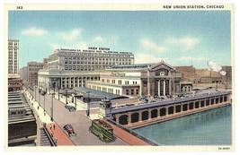 New Union Station Chicago IL Railway Station Curt Teich Linen Postcard 1941 - $14.60