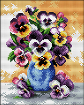 "Needleart World No Count Printed Cross Stitch Kit 10""X12""-Vase Of Pansies - $11.72"