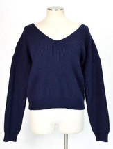 Angel Of The North Anthropologie Blue Wool Knit Gathered Crop Sweater Jumper L - $29.69