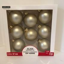 "NEW Ashland Glass Ornament Set 2.6""/ 67mm 8 pc Gold Matte Christmas Tree... - $4.94"