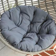 Hanging Chair Set Grey Wicker Egg Wicker w/Cushion Patio Lounge Chair Boho Chic image 5