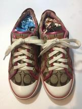 Coach Barrette Women's Signature Khaki/Pink Sneakers Size 8M - $24.74