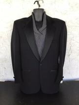 Mens Pierre Cardin Black Diamond Tuxedo Jacket Satin Lapels 1 Button Siz... - $51.00