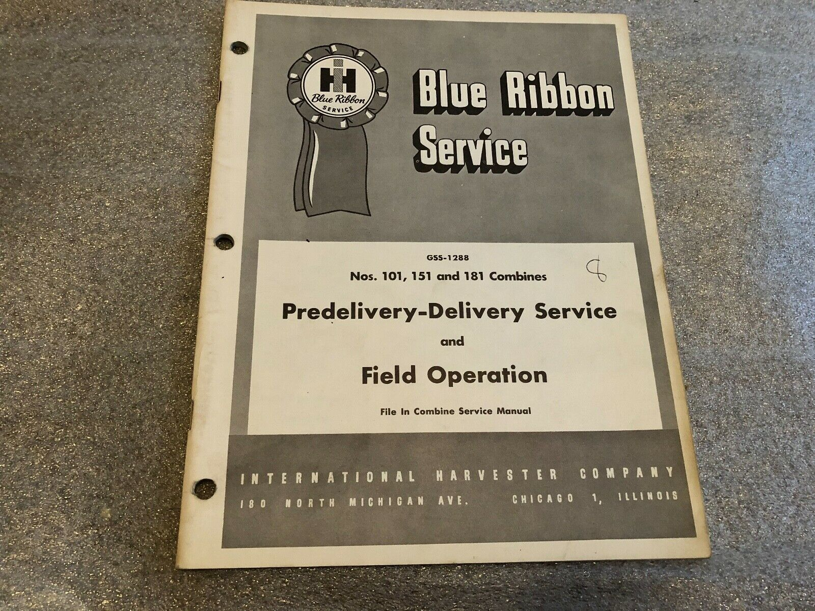 Primary image for Vintage IH Blue Ribbon Service 101 151 181 COMBINES Delivery Svc. Manual