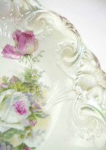 1910s Pearl Lusterware Fruit Bowl Cabbage Rose Bouquet Antique Art Nouve... - $88.60