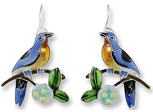 Primary image for Bluebird and Dogwood Enameled Wire Earrings