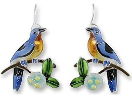 Bluebird and Dogwood Enameled Wire Earrings - £32.98 GBP