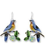 Bluebird and Dogwood Enameled Wire Earrings - $42.99