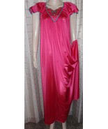 VANITY FAIR  VTG LONG RED Nightgown EMBELLISHED BODICE M-L XLENT!! - $23.19