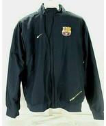 Nike FC Barcelona Black Neon Green Mens Soccer Jacket Large - £61.85 GBP
