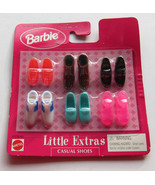 Barbie Doll Little Extras Casual Shoes Pack 1998 NRFP Brown Boots White Loafers - $8.97