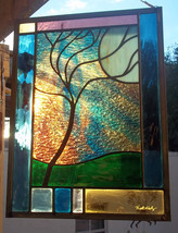 Stained Glass Window Panel Stormy Tree - $159.00