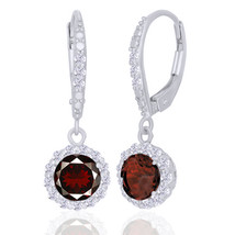 2.16 Ct Red Garnet & White Sapphire Sterling Silver Lever Back Dangle Ea... - $76.47