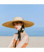 Brim Sun Hat With Long Ribbon Female Beach Hat Ladies Vacation Straw Uv ... - $18.76