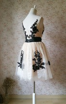 Elegant Ivory LACE Embroidery Knee Length Formal Cocktail Dress Bridesmaid Dress image 2