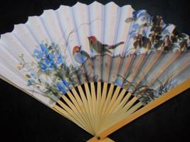 Blue Birds with Flowers Floral Folding Hand Fan #94 - $7.99