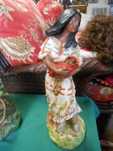 Great Collectible Vintage Western Americana Chalk Statue WOMAN & CHILD S... - $68.89
