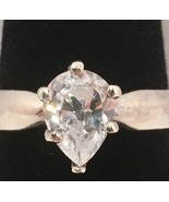 Ladies .925 Sterling Silver Ring Pear Cut Clear Cubic Zirconia Stone Siz... - $19.35