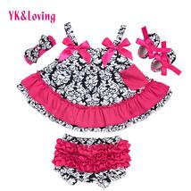 Damascus Swing Top Baby Girls Clothing Set Newborn Bat Shirt Ruffle Bloo... - $30.20