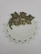 "VTG Westmoreland Handpainted White Milk Glass Plate 3 Cats Lattice Open Edge 7"" - $18.00"