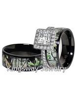 Mens & Womens Black Titanium Camo Sterling Silver Halo Engagement Wedding Rings - $40.99
