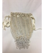vintage white crocheted beaded purse - $29.70