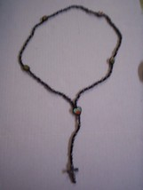 """Rosary, Black Onyx Beads with Heart Center, 19"""", Brand New - $19.99"""