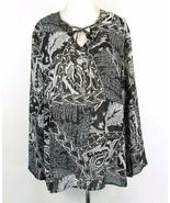 MAGGIE BARNES Plus Size 24W Black Floral Sheer Blouse Top - $19.99