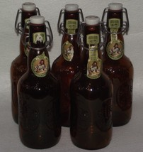 Vintage Grolsch 5pc empty brown beer bottles with hinged porcelain stoppers ~SB - $30.00
