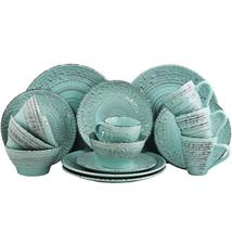 Elama Malibu Waves 16-Piece Dinnerware Set in Turquoise - $64.99