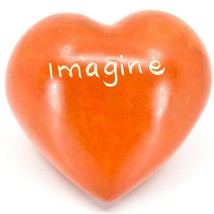 """Vaneal Group Hand Carved Soapstone 2-Sided """"Imagine"""" Orange Heart Paperweight image 2"""