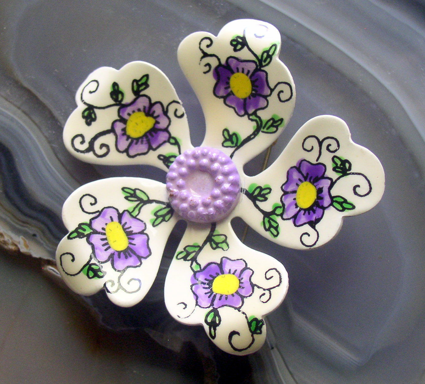 Hand Painted Enamel Flower Pin Brooch Made In West Germany Colorful