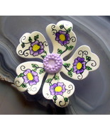 Hand Painted Enamel Flower Pin Brooch Made In West Germany Colorful - $9.99